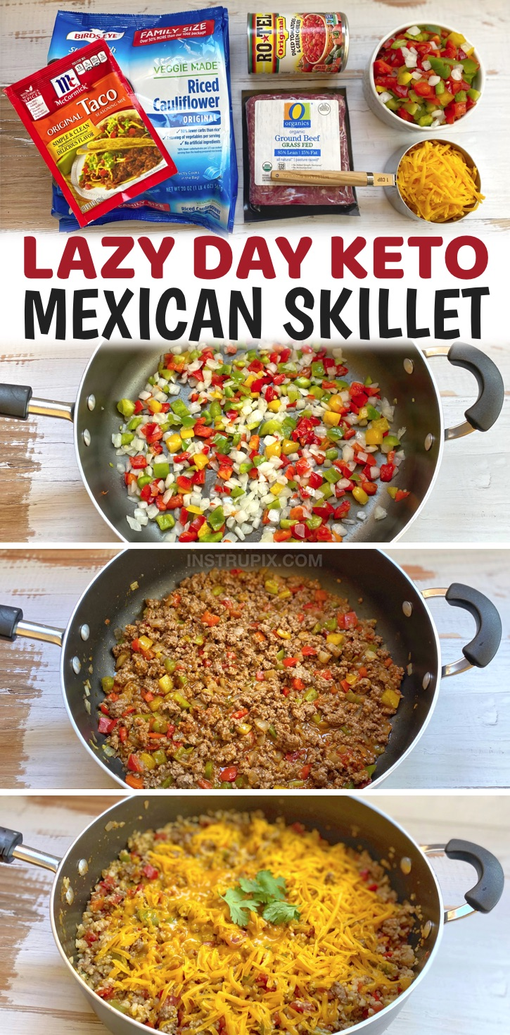 Looking for easy, healthy and low carb dinner recipes? Try this simple weeknight meal made with just a handful of ingredients in ONE PAN including ground beef, frozen cauliflower rice, cheddar cheese, Rotel, taco seasoning, onion and bell pepper. It's incredibly delicious yet healthy and totally guilt free! This keto friendly dinner recipe is perfect for anyone who doesn't want to spend all night in the kitchen cooking and cleaning up. Great for last minute dinners!