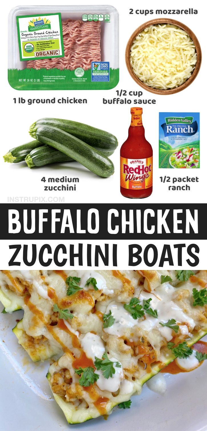 If you're looking for easy low carb and healthy dinner recipes, these cheesy buffalo ground chicken zucchini boats are insanely delicious for having just a few ingredients! What more could you want? And you don't have to be on a low carb or keto diet to enjoy them. Anyone who likes buffalo chicken will want to scarf them down. They're also low calorie, gluten free and super yummy! Great for weight loss. Zucchini boats are definitely a fun and exciting way to eat veggies.