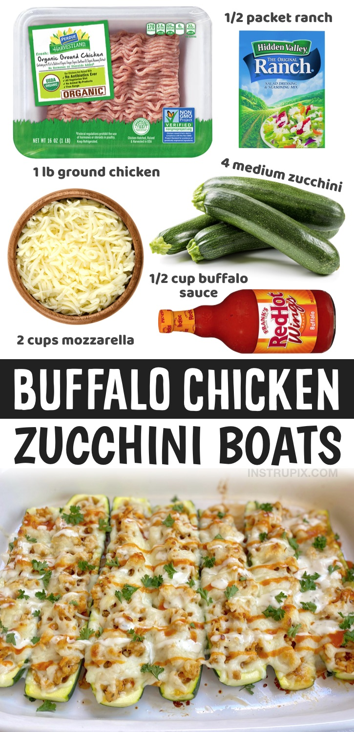 If you're looking for easy low carb and healthy dinner recipes, these buffalo chicken zucchini boats are insanely delicious for having just a few ingredients! And you don't have to be on a low carb or keto diet to enjoy them. They are made with just 5 ingredients: ground chicken, zucchini, mozzarella cheese, ranch seasoning and buffalo wing sauce. A really fun and exciting way to eat low carb! Plus, they are just as good leftover for lunch or dinner the next day. A healthy dinner recipe for two.