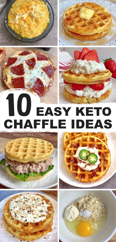 Idées faciles de keto chaffle qui ne goûtent pas faible en glucides - Vous recherchez des recettes faciles de keto chaffle à base de farine d'amande?  Ici, vous trouverez de tout, des petits-déjeuners sucrés et des desserts aux délicieux sandwichs au pain sucré!  Recettes parfaites à faible teneur en glucides et céto pour les débutants - idées de petit-déjeuner, déjeuner, collation et dîner, toutes préparées dans un mini gaufrier.  Si simple à réaliser avec peu d'ingrédients que vous avez probablement déjà (farine d'amande, fromage, œuf, fromage à la crème, etc.).  Vous ne manquerez plus jamais de pain!  La plupart d'entre eux sont également sains et végétariens.