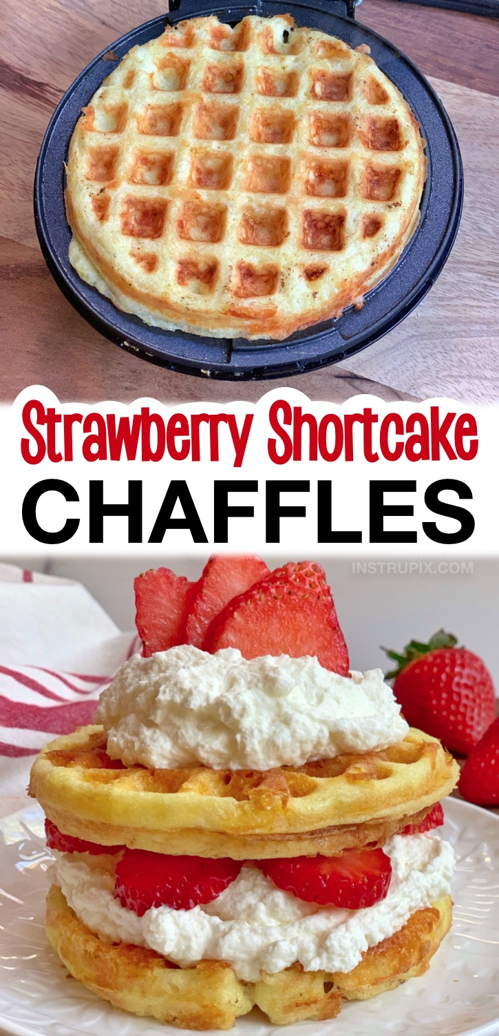 Strawberry Shortcake Chaffles -- A super quick and easy keto dessert recipe made with simple ingredients including almond flour, eggs and cheese. No baking! Such a yummy keto treat to make! The 10 Best Low Carb Chaffle Recipes Made With Almond Flour