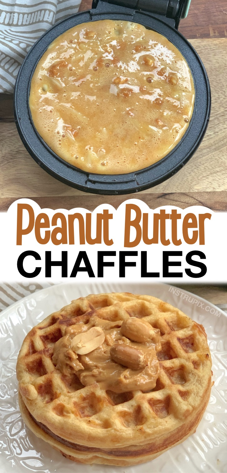 Easy Keto Sweet Peanut Butter Chaffles Recipe -- A yummy low carb breakfast or snack idea! Keto friendly, quick, simple, and made in a mini waffle maker. The 10 Best Keto Chaffles Recipes Made With Almond Flour