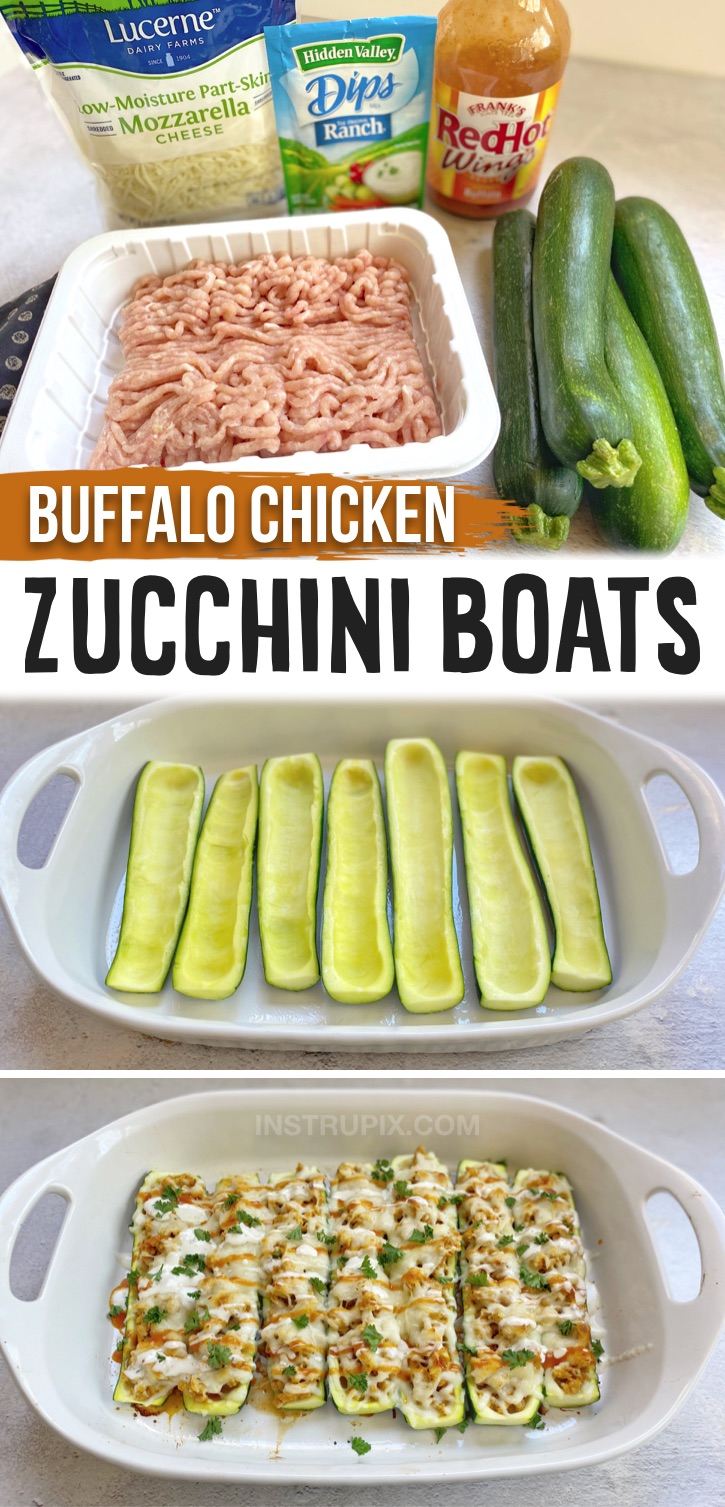 A simple and delicious low carb meal made with groundn chicken! If you're looking for easy, low carb AND healthy dinner recipes, these cheesy buffalo chicken zucchini boats are super yummy and made with just a few cheap ingredients. You don't have to be on a low carb or keto diet to enjoy them! Zucchini boats are definitely a fun and exciting way to eat veggies. They are a go-to dinner idea for my family on busy weeknights. Clean eating, gluten free, healthy and high in protein.