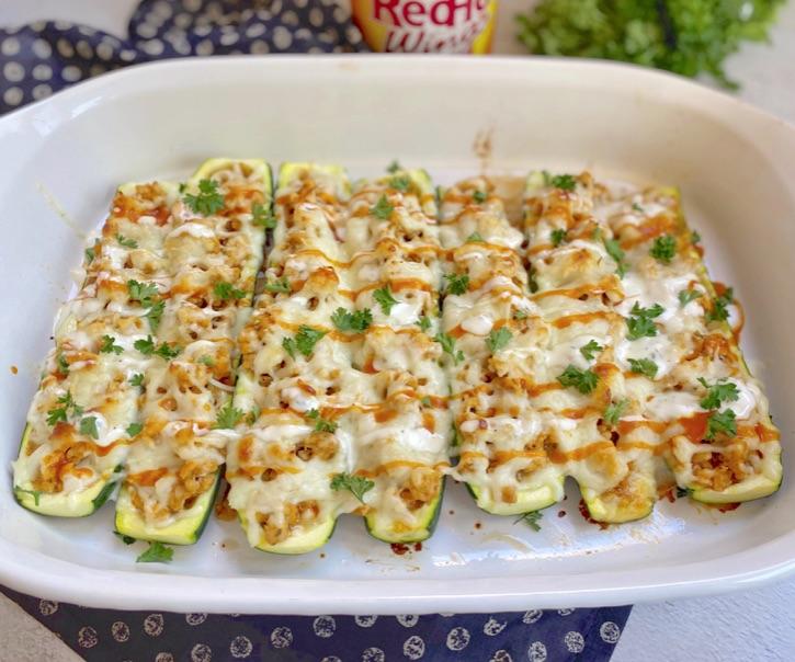 Easy 5 Ingredient Buffalo Chicken Zucchini Boats Recipe (Keto & Low Carb)