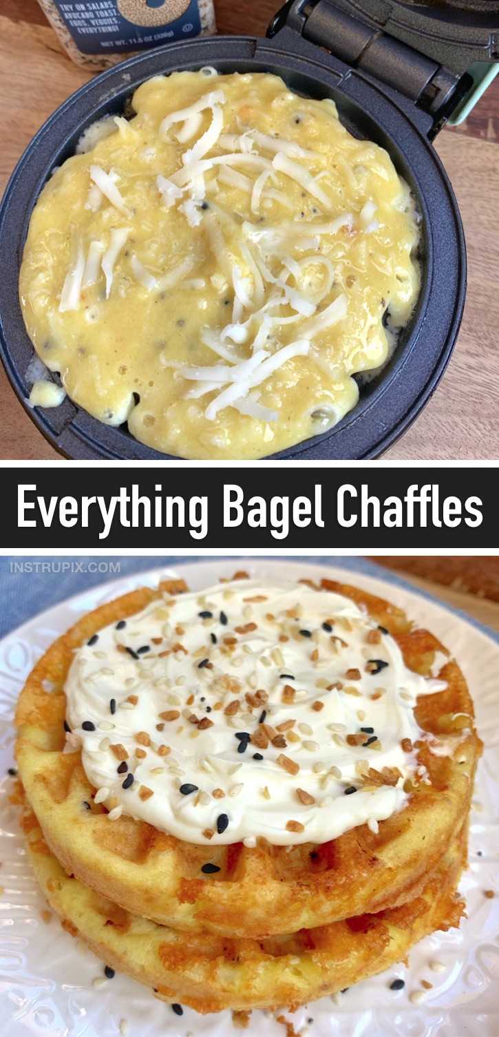 Keto Everything Bagel Chaffle Recipe - Mini waffle makinenizde yapılan düşük karbonhidratlı simitler!  Yum!  Çıtır, lezzetli ve lezzetli.  (The 10 Best Keto Chaffle Recipes) #everythingbagel #keto