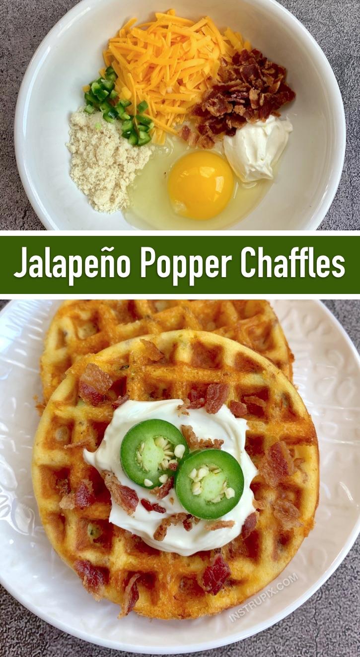 Jalapeno Popper Chaffles (à base de farine d'amande et de fromage à la crème) - Recette de collation céto super savoureuse et délicieuse!  Si rapide et facile à faire dans un mini gaufrier.  Aucune cuisson requise.  (Les 10 meilleures recettes de Keto Chaffle) #jalapeno #keto #chafflerecipes
