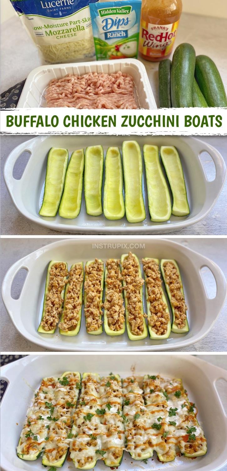 Suchen Sie nach schnellen, einfachen und gesunden Keto-Dinner-Rezepten?  Diese Zucchiniboote werden mit nur 5 einfachen Zutaten hergestellt: gemahlenes Huhn, Ranchgewürz, Büffelflügelsauce, Zucchini und Käse.  Das perfekte Ketodiätrezept für Anfänger!  Fügen Sie sie Ihrem Speiseplan hinzu.  Genauso gut übrig geblieben, damit Sie sie am nächsten Tag zum Mittagessen zur Arbeit bringen können.  Ein fabelhaftes Rezept für kohlenhydratarme Hühnchen, das auch Leute ohne Ketodiät lieben werden.  Diabetiker freundlich und glutenfrei.  #keto #lowcarb #chicken #instrupix