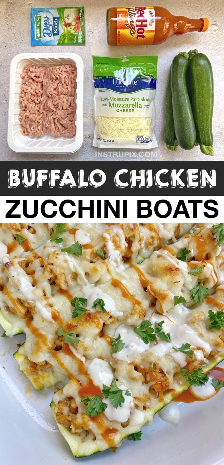 KETO Buffalo Chicken Zucchini Boats (Ein schnelles und einfaches Rezept für ein kohlenhydratarmes Abendessen!).  Wenn Sie nach gesunden Ketomahlzeiten suchen, werden diese Zucchiniboote aus billigen und einfachen Zutaten hergestellt, einschließlich gemahlenem Hühnchen.  So köstlich!  Ein großartiges Ketorezept für Anfänger und geschäftige Wochenabende.  Einfache kohlenhydratarme Hühnchenrezepte zum Abendessen #keto #lowcarb #chicken #zucchiniboats #instrupix