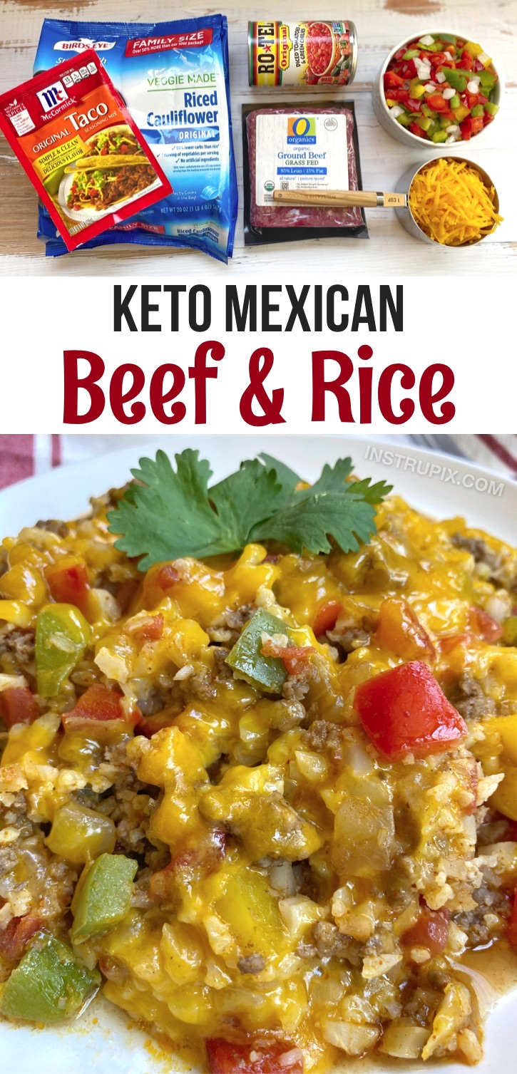 Looking for healthy low carb easy dinner recipes with ground beef? This simple keto meal is THE BEST! Cheesy Mexican Beef & Rice -- An easy keto recipe for busy weeknight meals. Healthy, cheap and quick to make in just ONE PAN. Easy cleanup and makes plenty for leftovers the next day. #keto #lowcarb #groundbeef #healthy #instrupix