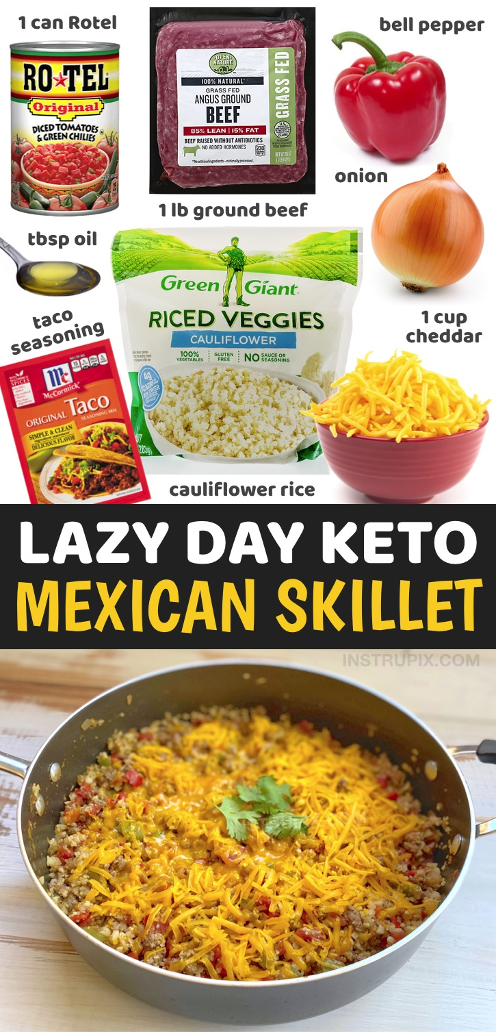 Are you looking for easy, healthy and low carb dinner recipes? They're not easy to find! Try this simple keto weeknight meal made with just a few ingredients in ONE PAN including ground beef, frozen cauliflower rice, cheddar cheese, Rotel, taco seasoning, onion and bell pepper. It's incredibly delicious yet healthy and totally guilt free! This low carb dinner recipe is perfect for anyone who doesn't want to spend all night in the kitchen cooking and cleaning up. The entire family will love it!