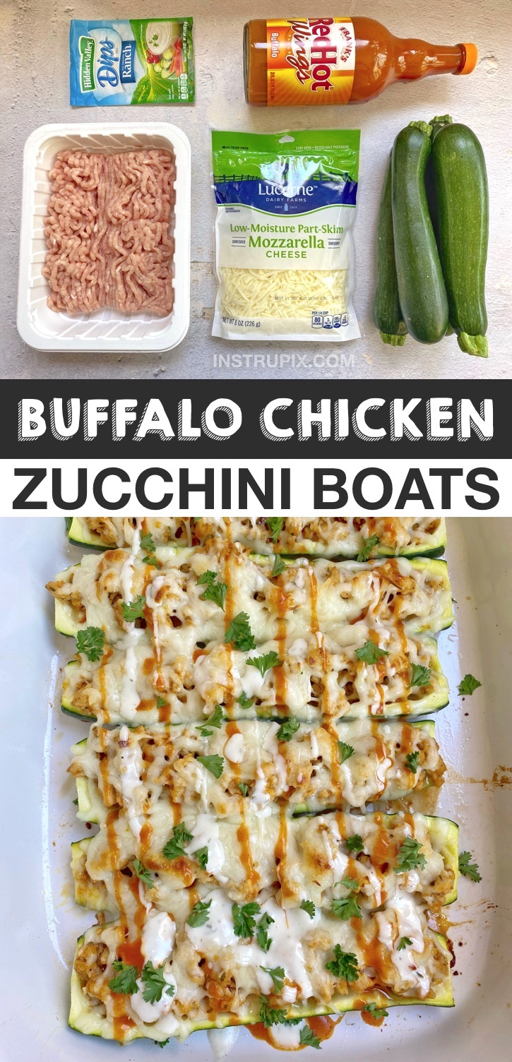 Quick & Easy Keto Dinner Recipes -- Buffalo Chicken Zucchini Boats (healthy and low carb!) This simple and cheap meal is so delicious! The perfect keto recipe for beginners made with just 5 ingredients including ground chicken and zucchini. Spicy, savory and HEALTHY! #instrupix #ketorecipes #lowcarbmeals #groundchicken