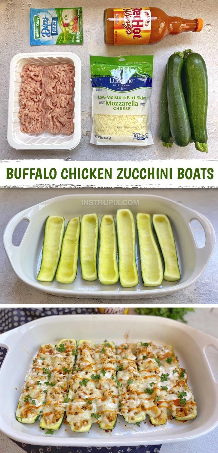 Easy Buffalo Chicken Zucchini Boats (Ein schnelles und einfaches Keto-Dinner-Rezept!).  Wenn Sie auf der Suche nach gesunden kohlenhydratarmen Mahlzeiten sind, werden diese leckeren Zucchiniboote aus wenigen Zutaten hergestellt, darunter gemahlenes Hühnchen.  So lecker!  Ein billiges und einfaches Keto-Rezept für Anfänger.  Einfache Keto-Hühnchen-Rezepte zum Abendessen #keto #lowcarb #chickenrecipes #instrupix