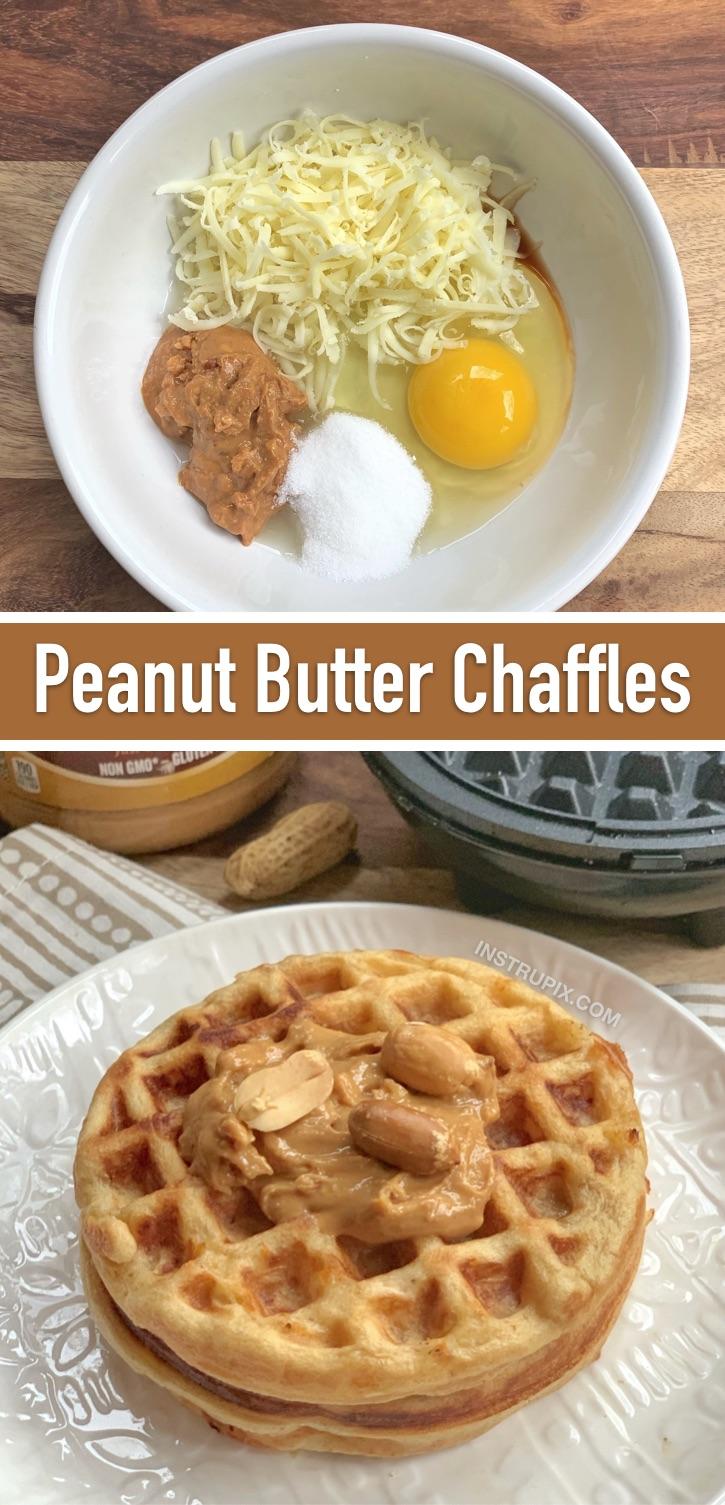 Sweet Keto Peanut Butter Chaffles - Une idée de petit-déjeuner céto rapide et facile pour les débutants!  Servir avec du beurre et du sirop sans sucre.  (Les 10 meilleures recettes de Keto Chaffle)