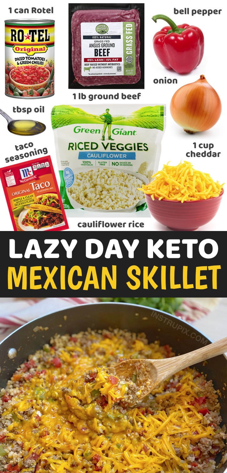 Keto One Pan Mexican Skillet Dinner Recipe - Looking for easy, healthy and low carb dinner recipes? Try this simple weeknight meal made with just a few cheap ingredients in ONE PAN including ground beef, frozen cauliflower rice, cheddar cheese, Rotel, taco seasoning, onion and bell pepper. It's so yummy yet healthy and totally guilt free! This low carb dinner recipe is perfect for anyone who doesn't want to spend all night in the kitchen cooking and cleaning up. It's a breeze to throw together on busy weeknights, and just as good leftover.