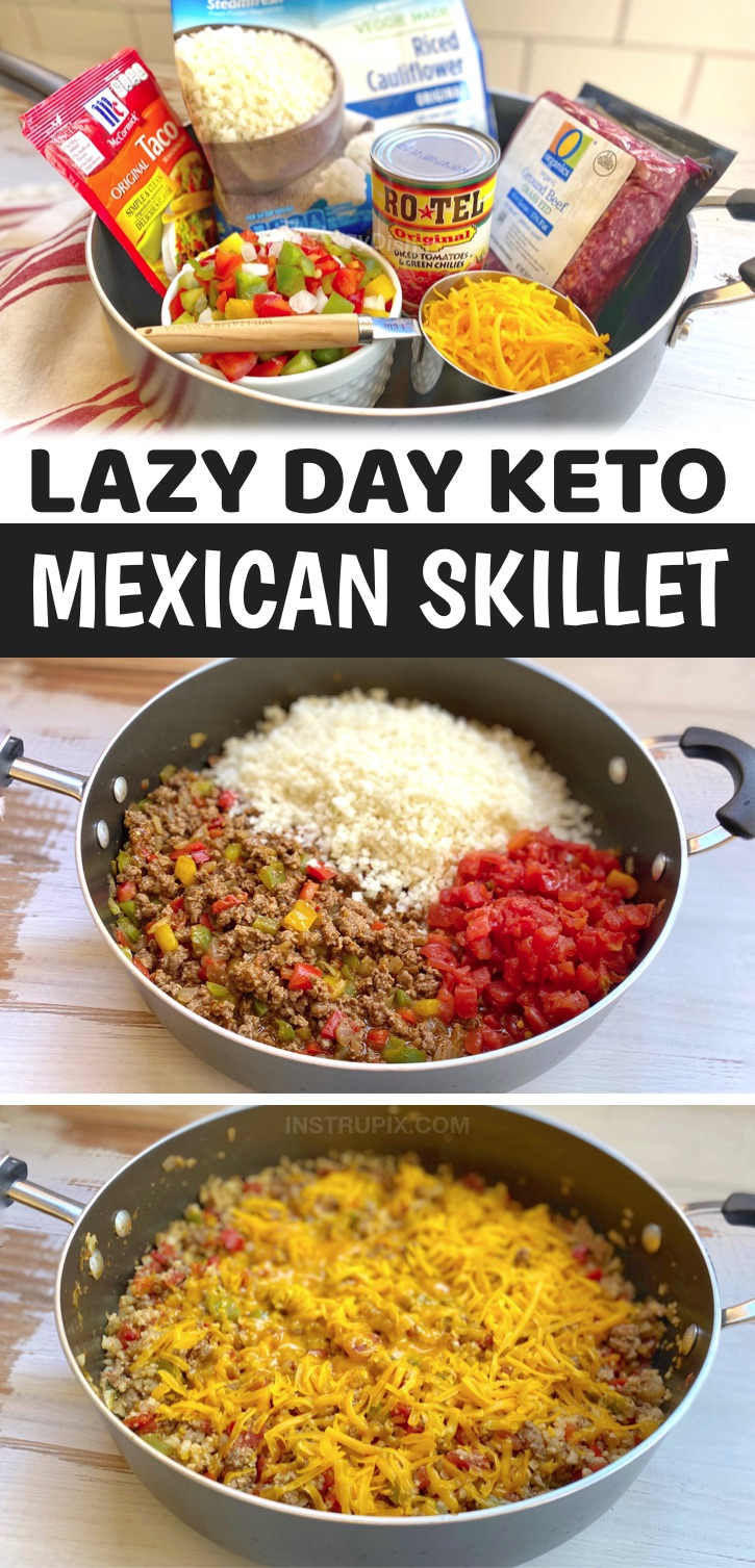 I'm always on the hunt for low carb and healthy dinner recipes! This one pan ground beef and cauliflower rice stove top skillet is a favorite weeknight meal for my family. It's quick and easy to make with simple and cheap ingredients. If you're looking for keto dinner recipes for beginners, you've got to try this cheesy keto friendly and low carb main dish. No oven required! Just cook it all in a single pan-- very little clean up and meal prep. Easy Low Carb Dinner Recipes With Ground Beef #keto