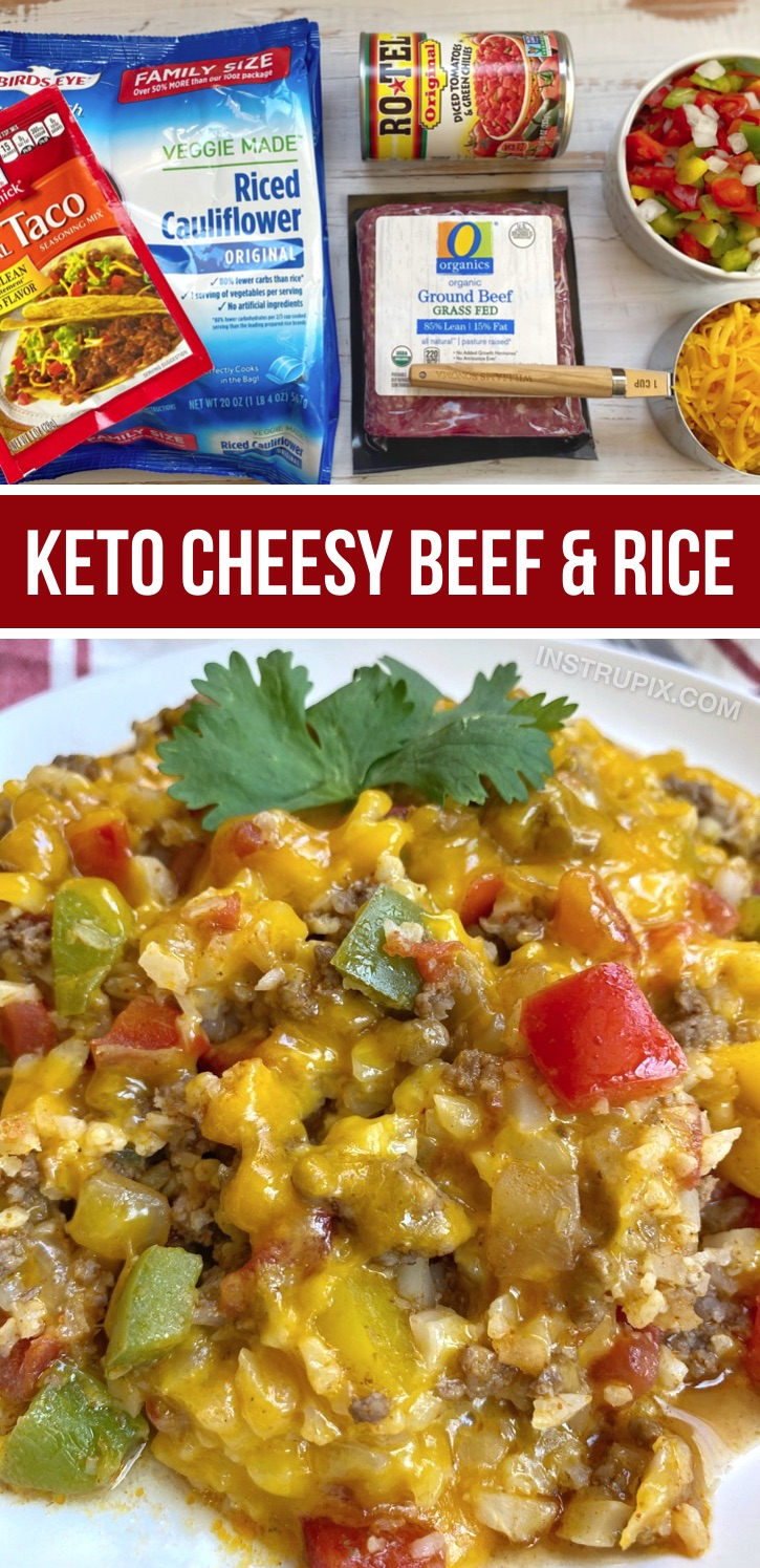This quick and easy dinner recipe is low carb, healthy and delicious! It's made with just a few cheap ingredients including ground beef, cauliflower rice, cheese, taco seasoning, Rotel, onion and bell pepper ALL IN ONE PAN! Yay. So simple and yummy. It's also atkins and keto friendly. The family will love it, too! Serve it with tortillas for the kids. An easy little scramble for busy weeknight meals when you're rushed for time. Great recipe for beginners! #lowcarb #keto #groundbeef #instrupix