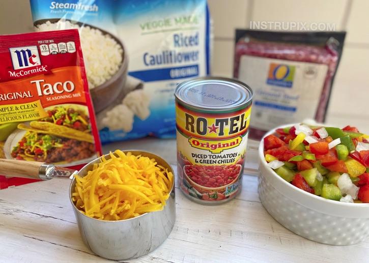 Zutaten für Keto Hackfleisch & Blumenkohl Reis Eintopf Mahlzeit