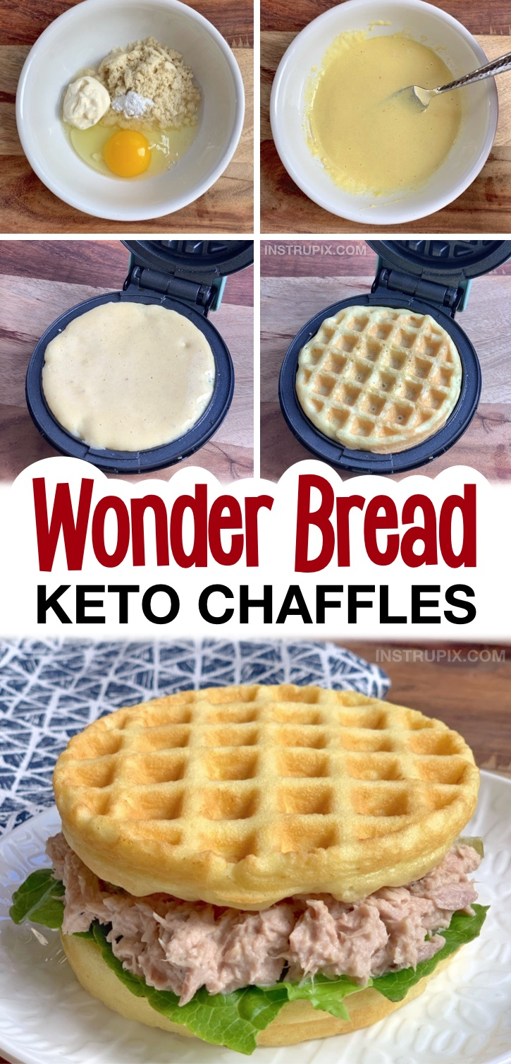 Easy Keto Wonder Bread Chaffle Recipe -- The BEST soft and delicious sandwich bread chaffles made with almond flour, egg and mayo! A super low carb bread idea for lunch sandwiches. Super quick and easy to make! #chaffles #keto #lowcarb