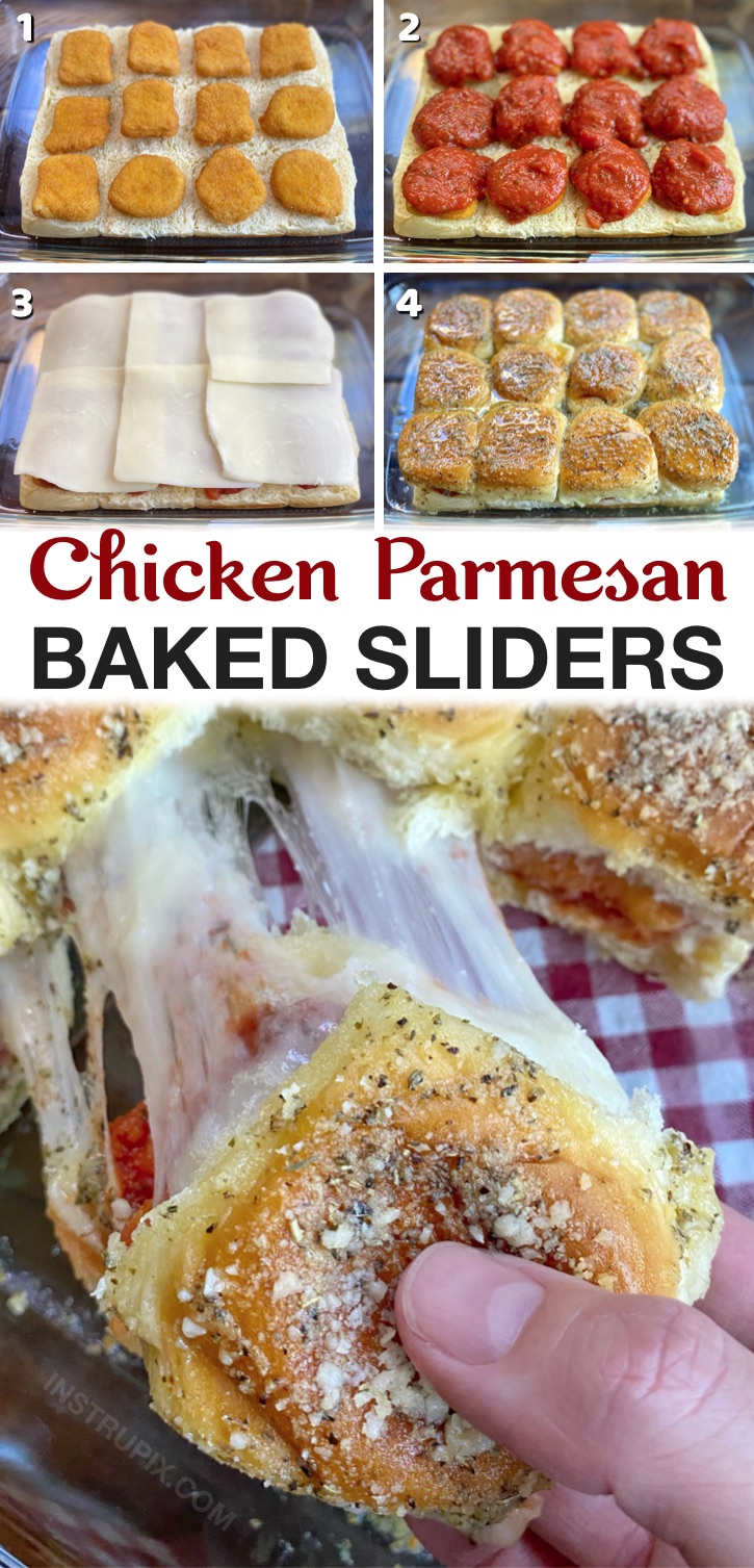 Your picky eaters are going to love these baked chicken parmesan sliders! A super quick and easy dinner recipe for a family with kids. Serve with a salad to make it healthy. Perfect for busy weeknight meals. Simple to make with Hawaiian rolls and frozen nuggets!
