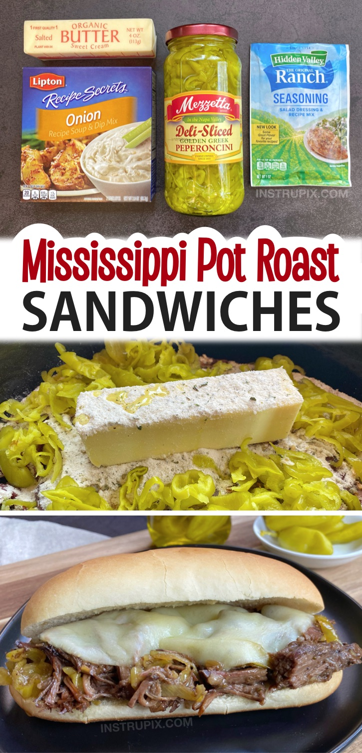 The BEST Mississippi Pot Roast Sandwiches! Made with just 5 cheap ingredients. An amazing crockpot dinner recipe! This slow cooker beef is so tender and juicy. Top with cheese and serve on hoagie rolls. So yummy!