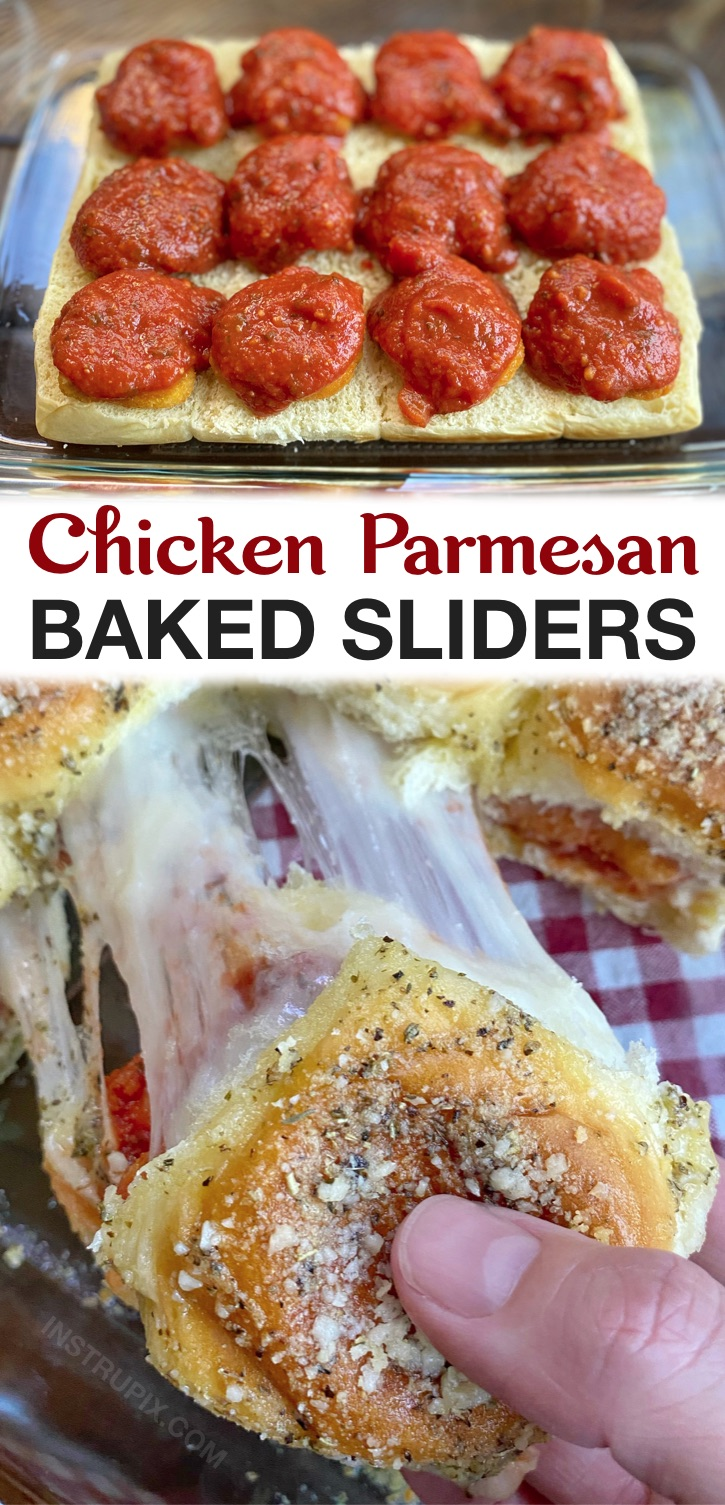 Looking for easy dinner recipes for a family with picky kids? These chicken parmesan sliders are quick and easy to make with cheap ingredients: Hawaiian rolls, frozen chicken nuggets, marinara and mozzarella. Great for lunches, sleepovers and small parties, too!