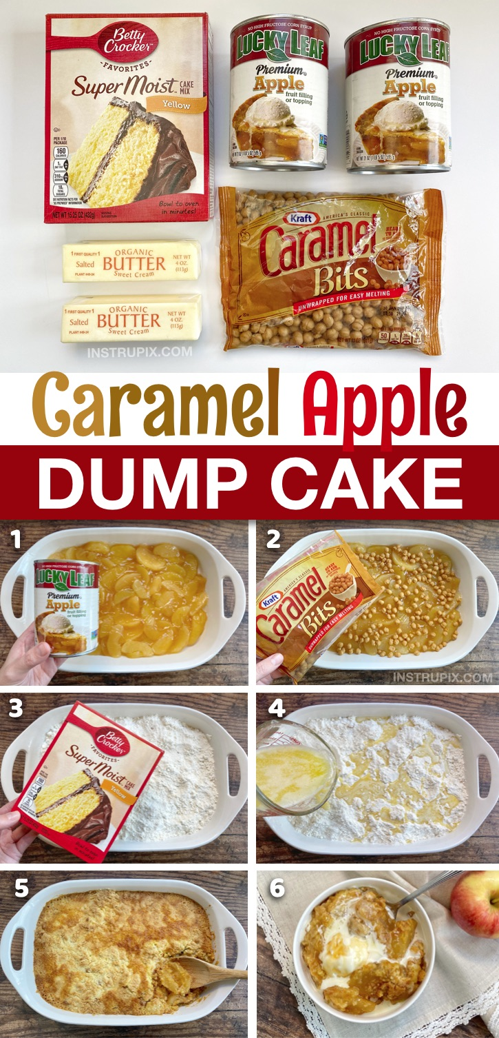 Homemade Caramel Apple Cobbler Dump Cake -- Made with just a few cheap ingredients! Boxed yellow cake mix, pie filling, butter and caramel bits. A super quick and easy fall dessert recipe. Perfect for the holidays like Thanksgiving and Christmas. An impressive crowd pleaser! Seriously, the best dessert, EVER! #cakemix #dumpcake #dessert #instrupix