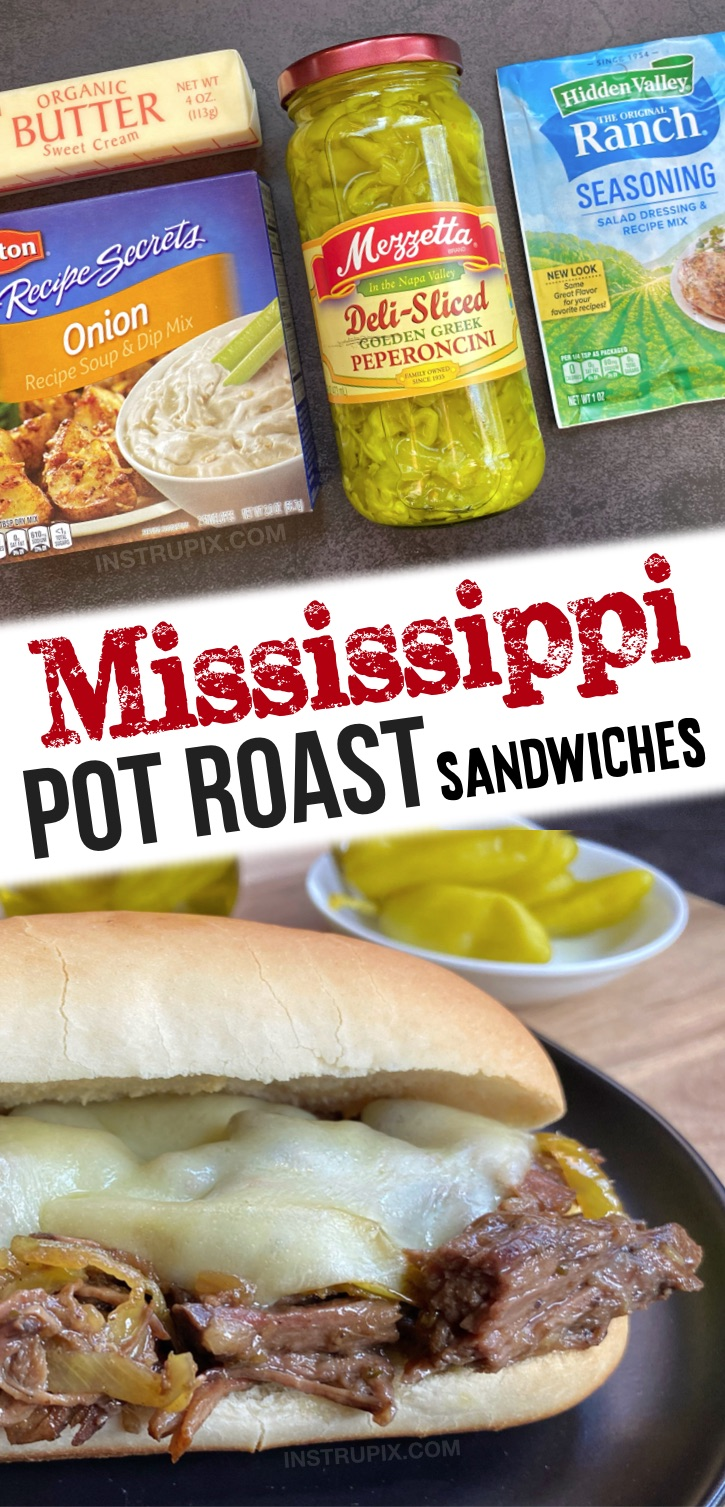 Looking for easy slow cooker meals? These crockpot beef sandwiches are a family favorite! I'm always on the hunt for easy crockpot dinner ideas for my family, and this mississippi pot roast makes for THE BEST sandwiches on the planet! They are incredibly simple to make with just a few cheap ingredients including a beef chuck roast, butter, a packet of ranch seasoning, onion soup mix and peperoncini peppers. Serve with cheese on any sandwich bread. Super yummy for dinner or lunch!