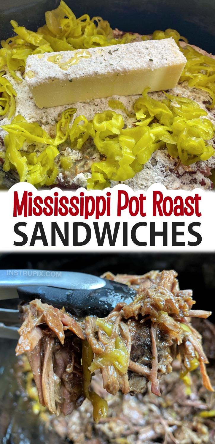 Easy Slow Cooker Mississippi Pot Roast Sandwiches - Ein fantastisches Crockpot-Dinner-Rezept für Ihre Familie!  So einfach zuzubereiten mit nur 5 Zutaten, darunter Rinderbraten, Butter, Ranchgewürz, Zwiebelsuppenmischung und Peperoncinis.  Fügen Sie dieses Slow Cooker-Menü zu Ihrem wöchentlichen Abendmenü hinzu.