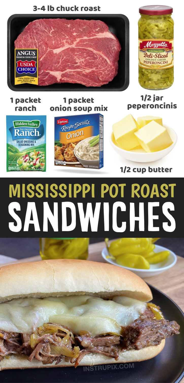 Crockpot Mississippi Pot Roast Sandwiches - Looking for easy slow cooker meals? These crockpot beef sandwiches are a family favorite! I'm always on the hunt for easy crockpot dinner ideas for my family, and this mississippi pot roast makes for THE BEST sandwiches on the planet. They are incredibly simple to make with just a few ingredients including a beef roast, butter, a packet of ranch seasoning, onion soup mix and peperoncini peppers. They great for both lunch and dinner, or anytime you want something yummy. Pefect for Lazy days!