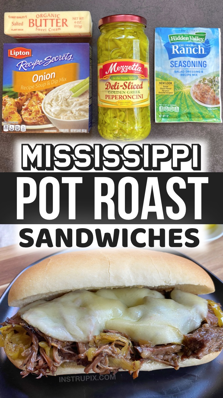 Mississippi Pot Roast Sandwiches - A super easy and delicious crockpot meal! These beef sandwiches are a family favorite slow cooker dinner recipe. They are so simple to make with just a few ingredients: butter, ranch seasoning mix, onion soup mix and peppers. My husband and kids love them! They are also great for the weekends for family gatherings. Some serious comfort food! Serve the meat on hoagie rolls with melted cheese, or even with mashed potatoes. So yummy.