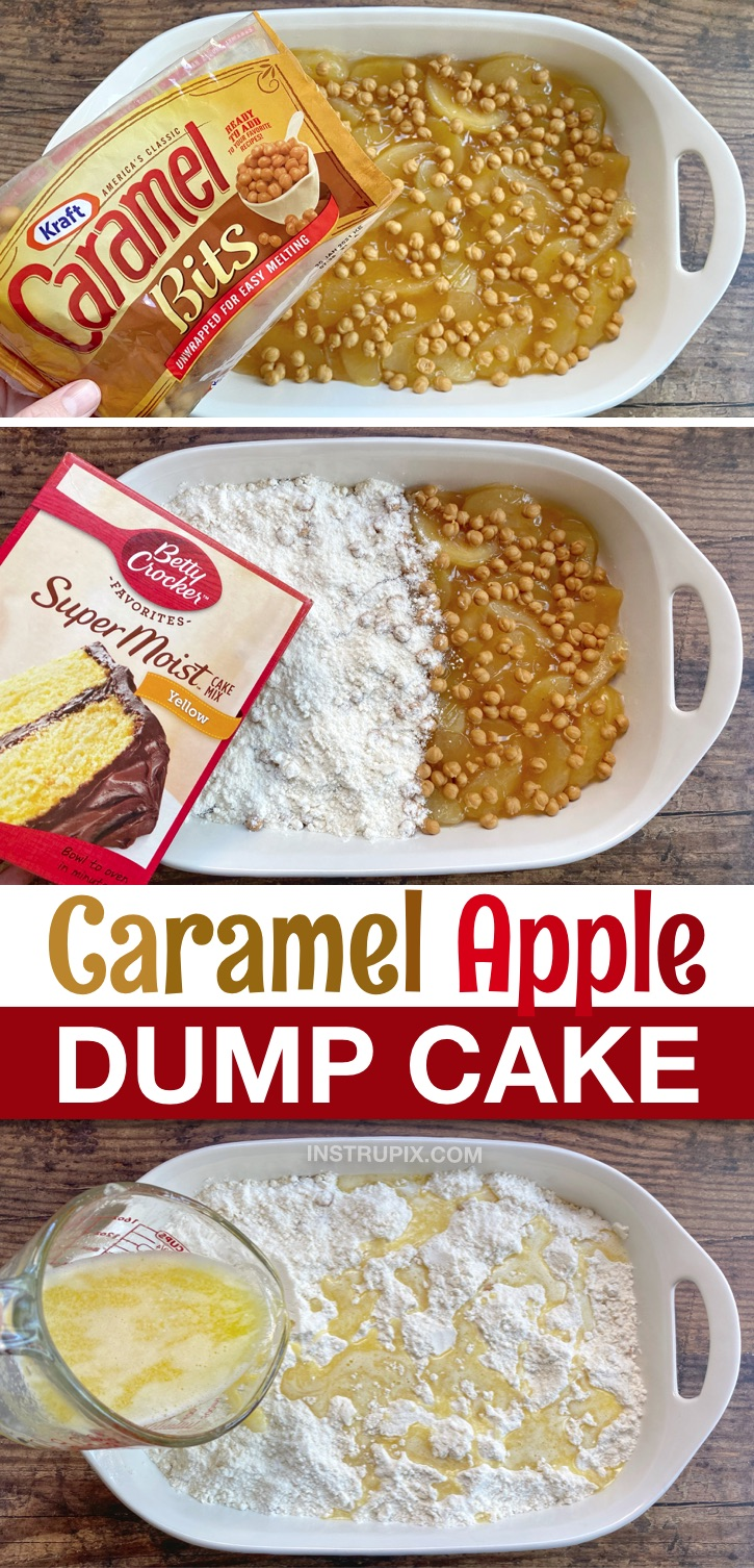 Quick & Easy Caramel Apple Cobbler Dump Cake Recipe made with boxed yellow cake mix and canned pie filling! So simple to make yet really impressive! Perfect for Thanksgiving or anytime in the fall. Made with just a few cheap and simple ingredients. If you love sweet treats, you're going to love this easy apple dessert! #dumpcake #caramel #apple #instrupix