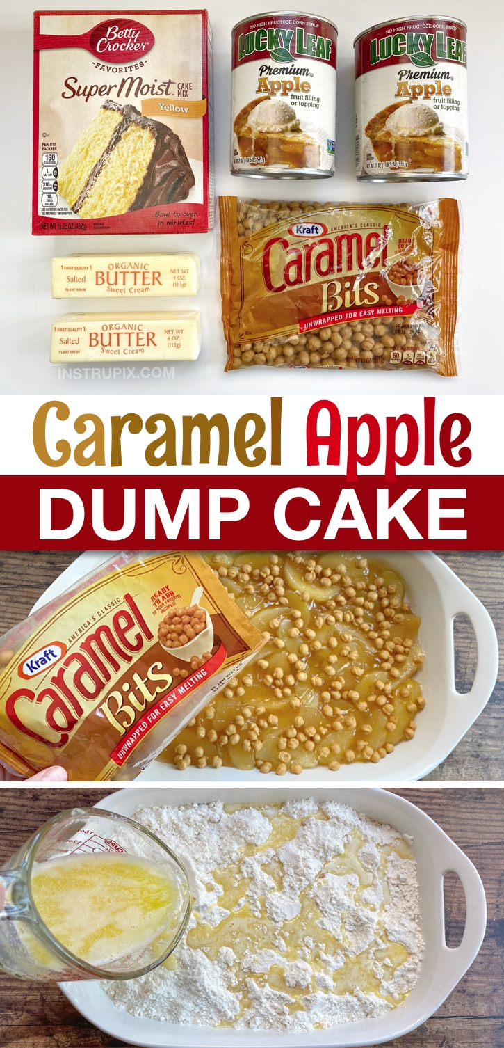 Caramel Apple Cobbler Dump Cake Recipe -- A super quick and easy dessert recipe for fall! Or anytime. My family enjoys it for Thanksgiving in place of apple pie. So simple to make yet, seriously, the best dessert recipe, ever! Simple, cheap and super yummy. Serve warm with vanilla ice cream. #easydesserts #caramelapple #dumpcakes #instrupix