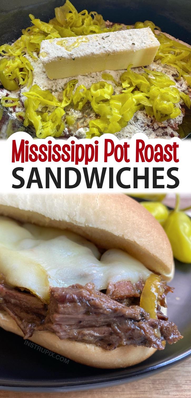 Easy Crockpot Dinner Rezept: Mississippi Slow Cooker Pot Braten Sandwiches.  Eine super einfache Mahlzeit mit nur 5 Zutaten: Rindfleisch, Butter, Ranch, Zwiebelsuppe und Paprika.  Wenn Sie nach einfachen Rezepten für Familienessen suchen, sind diese Crockpot-Sandwiches DIE BESTEN!