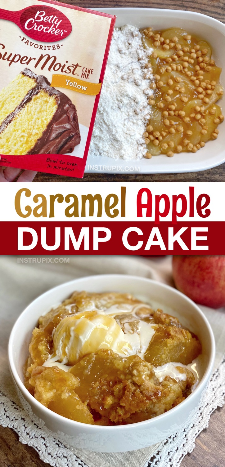 Seriously, the BEST fall dessert recipe! This caramel apple cobbler dump cake is super quick and easy to make with boxed cake mix, pie filling, caramel and butter! So simple to make yet will impress your entire family. A simple homemade apple dessert recipe that's perfect for Thanksgiving or anytime during the holidays! #desserts #4ingredients #dumpcake #cakemix #instrupix