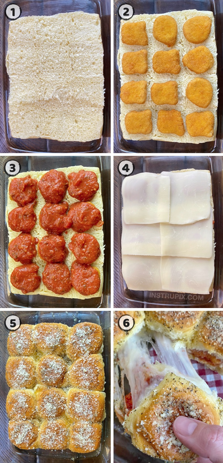 Looking for easy dinner recipes for your picky eaters? These chicken parmesan sliders are always a hit! Made with just a few cheap and simple ingredients including Hawaiian rolls and frozen chicken nuggets. The best family meal for busy weeknights. Great for a weekend lunch, too!