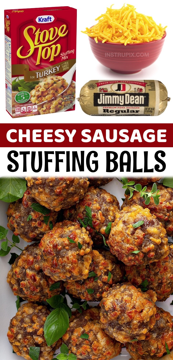 3 Ingredient Cheesy Sausage Stuffing Balls - A super quick and easy make ahead holiday appetizer! This simple recipe feeds a crowd and is the perfect finger food served with toothpicks or mini skewers. These amazing sausage balls are made without biscuick or cream cheese. The boxed stuffing makes all of the difference. There is so much flavor packed into these little balls of heaven. Your entire family and all of your friends will be asking you for the recipe. Great for Thanksgiving and Christmas gatherings! Fun little snack idea, too.