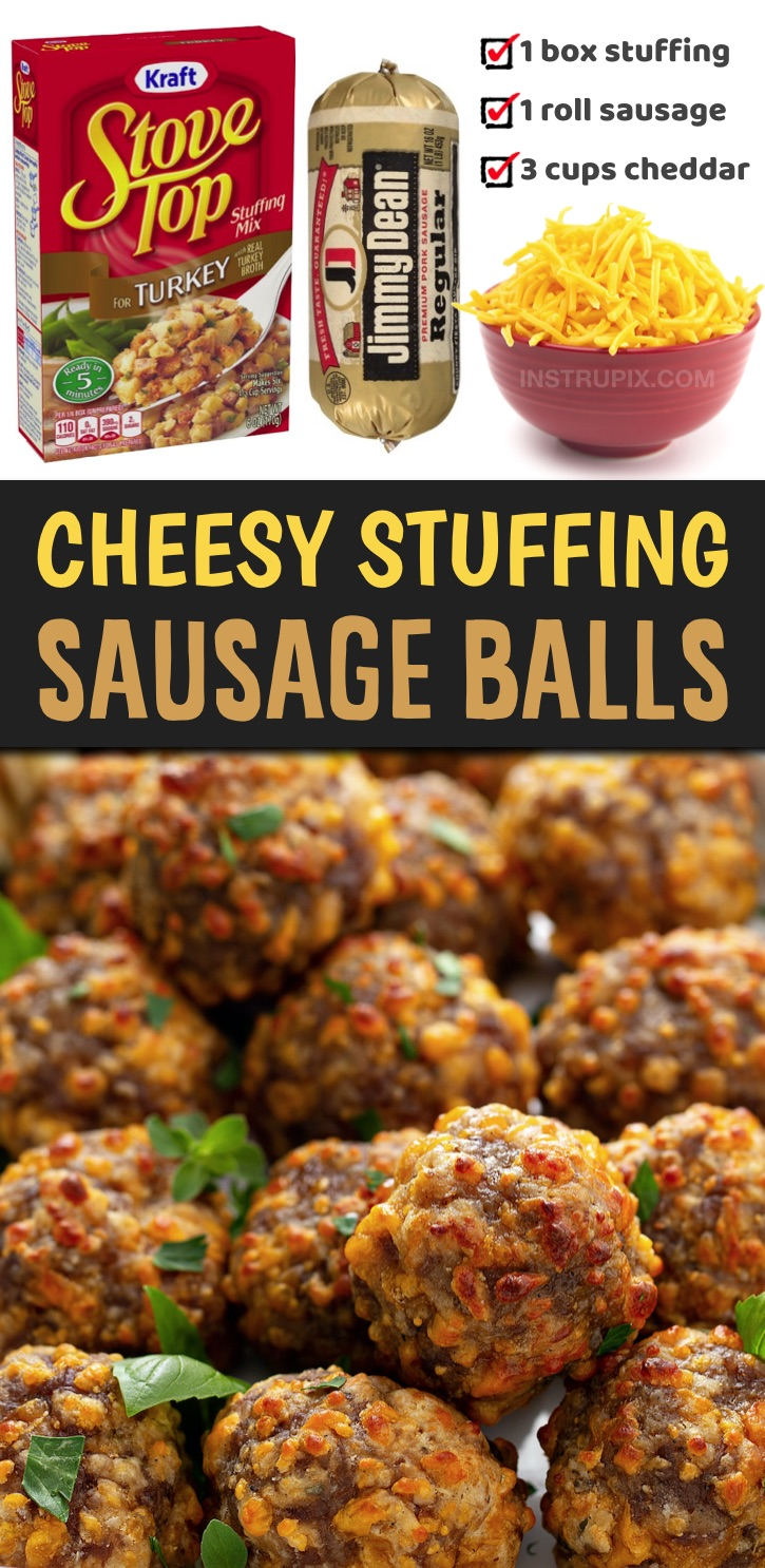 These amazing sausage balls are made with just 3 ingredients! No Bisquick or cream cheese. You can also make them ahead of time and keep them in the fridge until you're ready to bake and serve them. They are perfect for parties and family gatherings during the holidays. They're basically like cheesy stuffing wrapped up into finger food. Serve them with toothpicks or mini skewers to make them easy to just grab and eat. Perfect for Thanksgiving or Christmas parties and family gatherings.