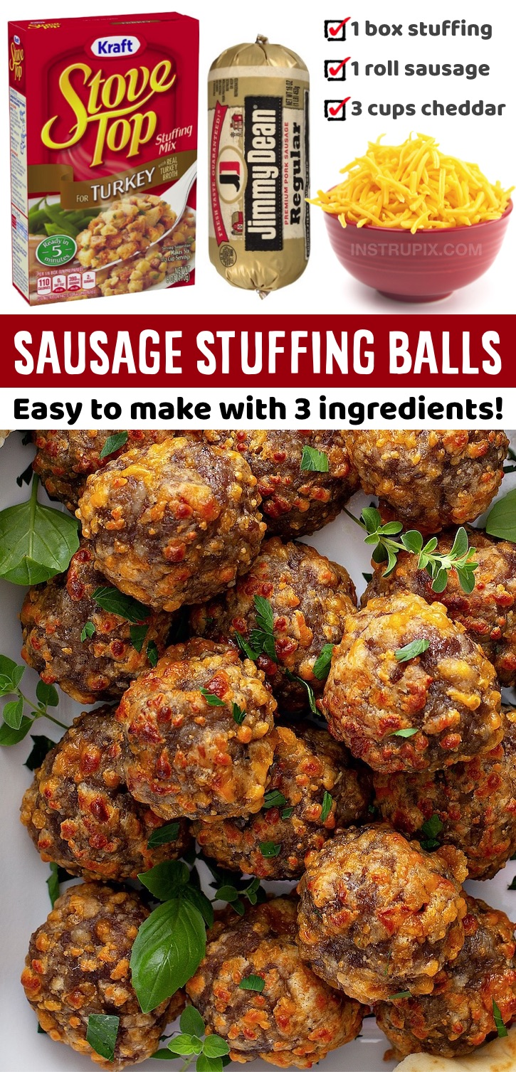 A quick and easy appetizer snack for the holidays! Perfect for Thanksgiving or Christmas family gatherings and parties. These amazing sausage balls are made with just 3 ingredients! No Bisquick or cream cheese. You can also make them ahead of time and keep them in the fridge until you're ready to bake and serve them. They're basically like cheesy stuffing wrapped up into finger food. Serve them with toothpicks or mini skewers as an appetizer to make them easy to grab and eat for your guests.