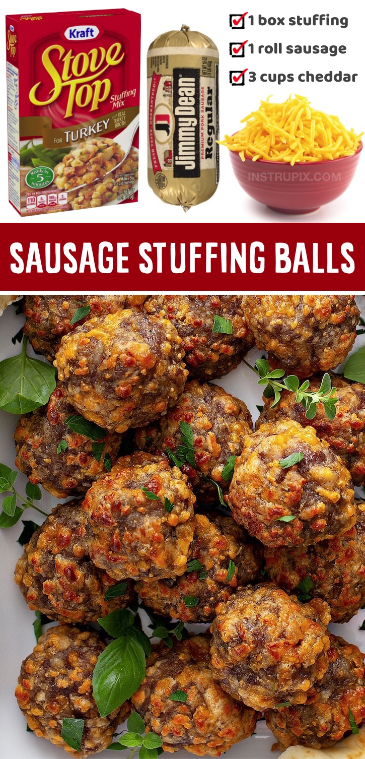 If you're looking for super quick and easy holiday snacks and appetizers, your family is going to love these 3 ingredient sausage stuffing balls! So simple to make and always a hit. Serve them with toothpicks or mini skewers for the perfect party finger food, and they ARE make ahead! You chill the uncooked sausage balls the night before (or for at least an hour) and then pop them in the oven when you're ready to serve them. Perfect to make with leftover Thanksgiving stuffing, too.