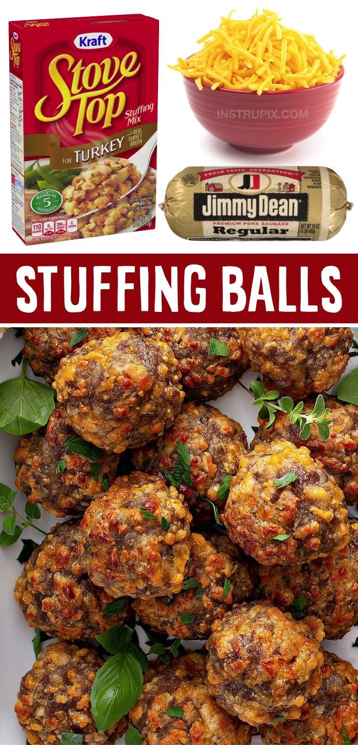 A super quick and easy appetizer snack for the holidays made with just 3 ingredients: boxed stuffing, Jimmy Dean sausage and cheddar cheese. Serve with toothpicks or mini skewers! These amazing sausage balls are a real crowd pleaser! They are perfect for family gatherings for Thanksgiving or Christmas. A super yummy snack and finger food recipe that everyone will love, including the kids. Plus you can make them ahead, refrigerate, and then pop them in the oven when you're ready to serve.