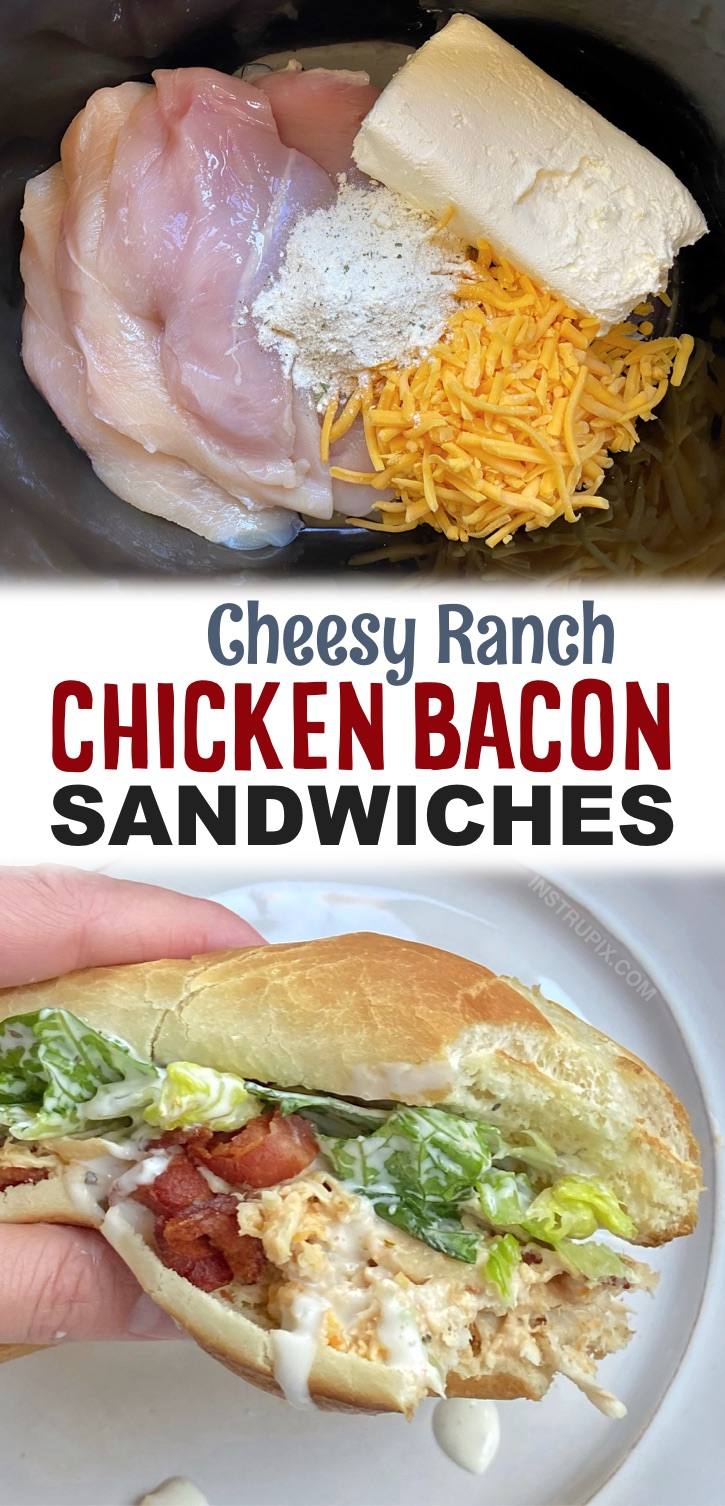 Shredded cheesy ranch chicken made in your slow cooker and served in sandwich rolls with crispy bacon and lettuce! A.K.A