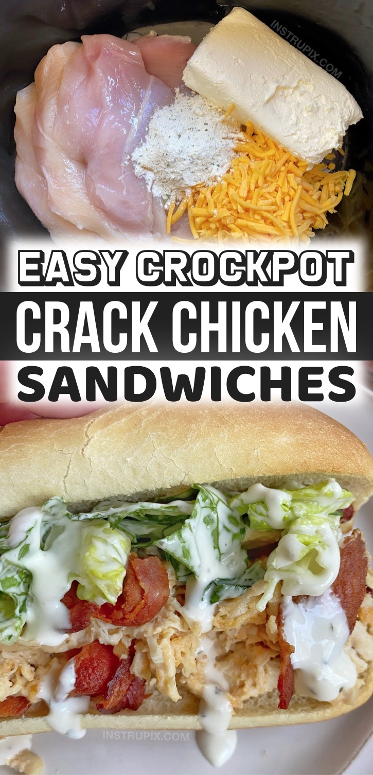 Crockpot Crack Chicken Sandwiches - You will not believe how yummy these crockpot shredded chicken sandwiches are! Plus they are super easy to make for a weekend lunch at home or busy weeknight dinners. My kids and husband love them! Such a simple and yummy recipe for your family. If you're looking for easy chicken dinner recipes, you've got to try this comforting meal. How can you go wrong with cheese, bacon and ranch? These sandwiches are so creamy, crunchy and delish.