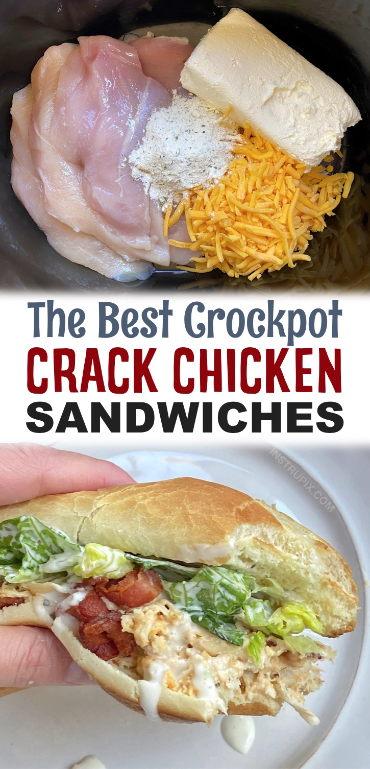 Easy Crockpot Shredded Crack Chicken Sandwiches (The best slow cooker meal!) Your family is going to love these insanely yummy chicken sandwiches. They are so simple to make in your crockpot for busy weeknight dinners or even lunch on the weekend. Even your kids and picky eaters will devour them. Some serious comfort food! Serve with crispy bacon and crunchy lettuce.