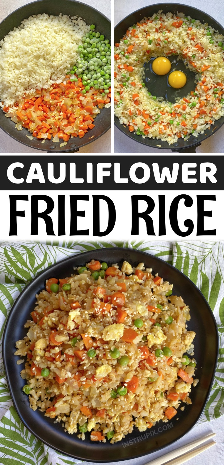 Looking for easy and healthy keto dinner recipes? This cauliflower fried rice is better than take out! It's also super quick and easy to make in just one pan. The perfect keto friendly dinner recipe for busy weeknight meals. It's made with simple ingredients including frozen cauliflower rice.