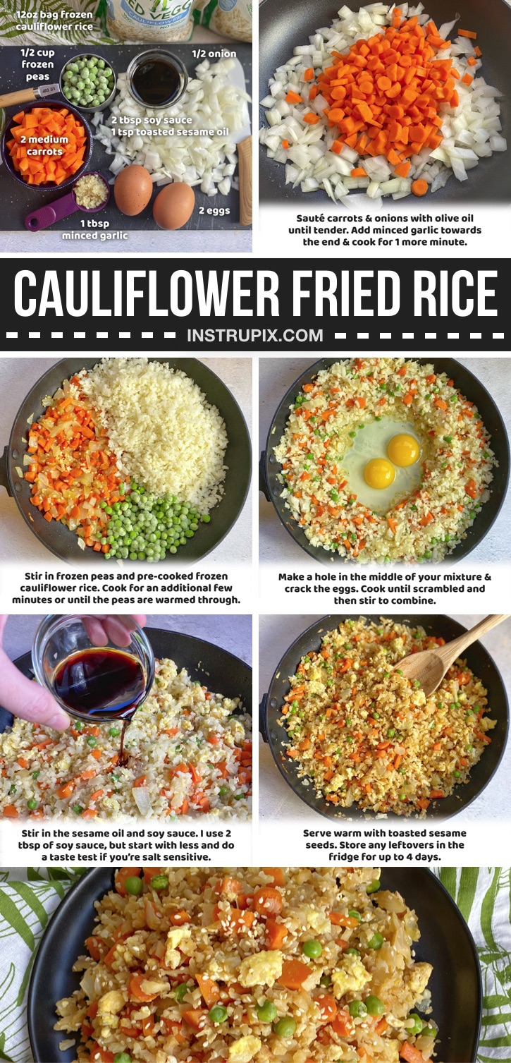 Looking for easy keto recipes for beginners? You won't believe how quick and easy this low carb cauliflower fried rice is to make in just one pan! This simple keto meal only requires a handful of ingredients and is seriously better than takeout. It's also healthy, clean eating, vegetarian and ketogenic. How can you go wrong? Absolutely delicious for last minute dinners, lunches or as a side dish to any protein you'd like such as chicken, steak or fish.