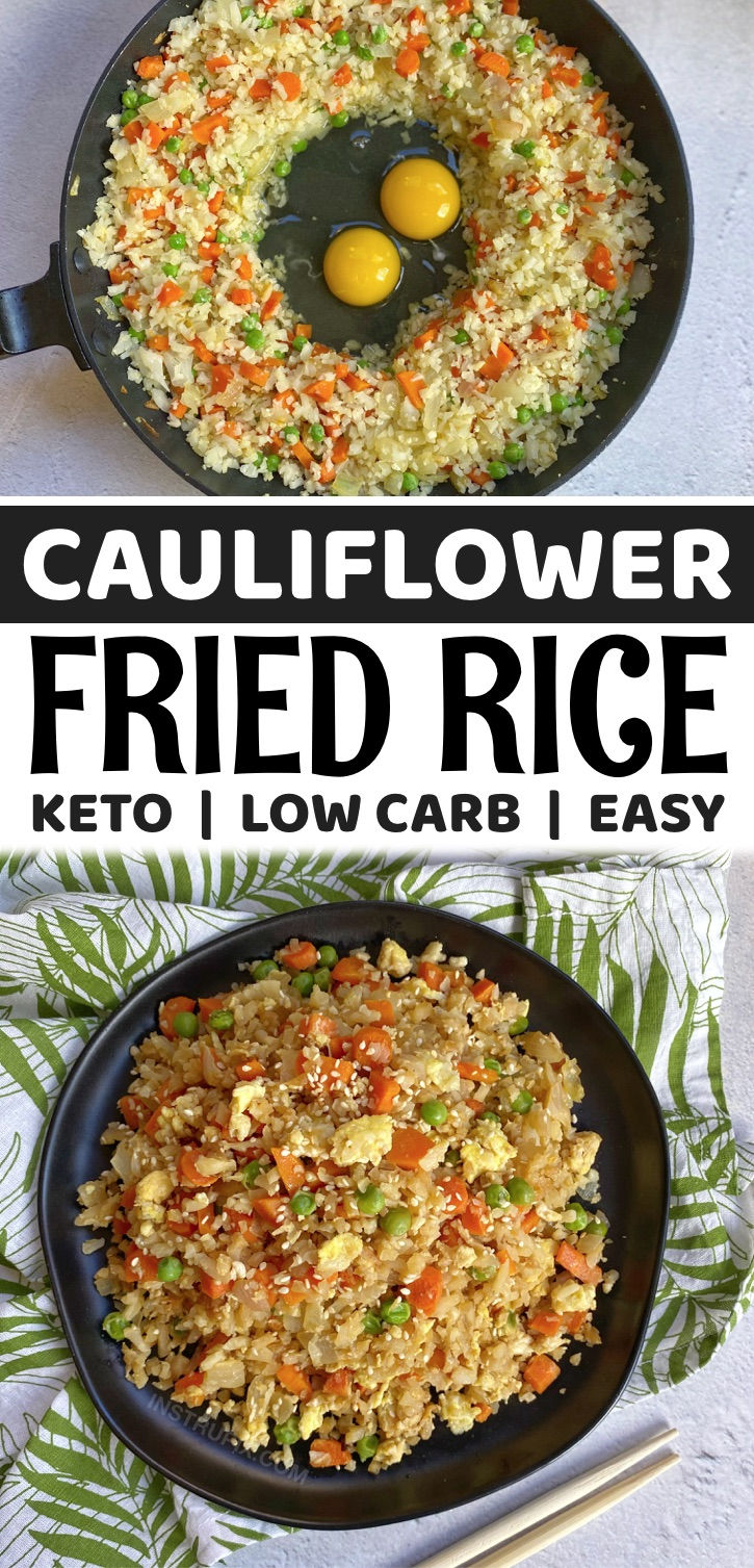 The Best Cauliflower Fried Rice (a low carb and keto friendly dinner recipe!) This low carb dinner idea is so quick and easy to make in just one pan with frozen cauliflower rice and just a few other simple ingredients. It's healthy, vegetarian, gluten free, clean eating and super yummy!