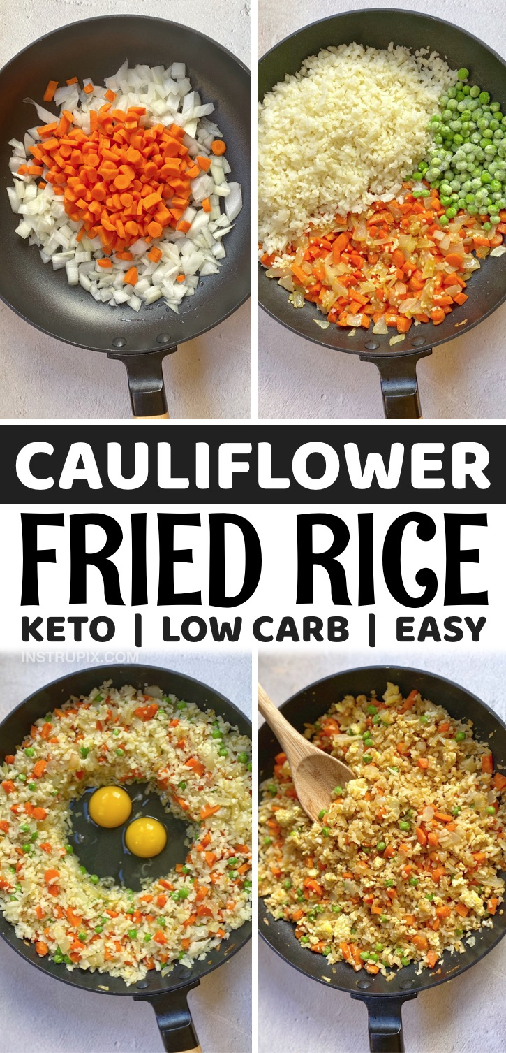 Looking for easy and healthy low carb dinner recipes? This keto cauliflower fried rice is simply amazing! It's so quick and easy to make in just one pan with frozen cauliflower rice. Great for busy weeknight meals! Serve alone or as a side dish with chicken, steak or shrimp.