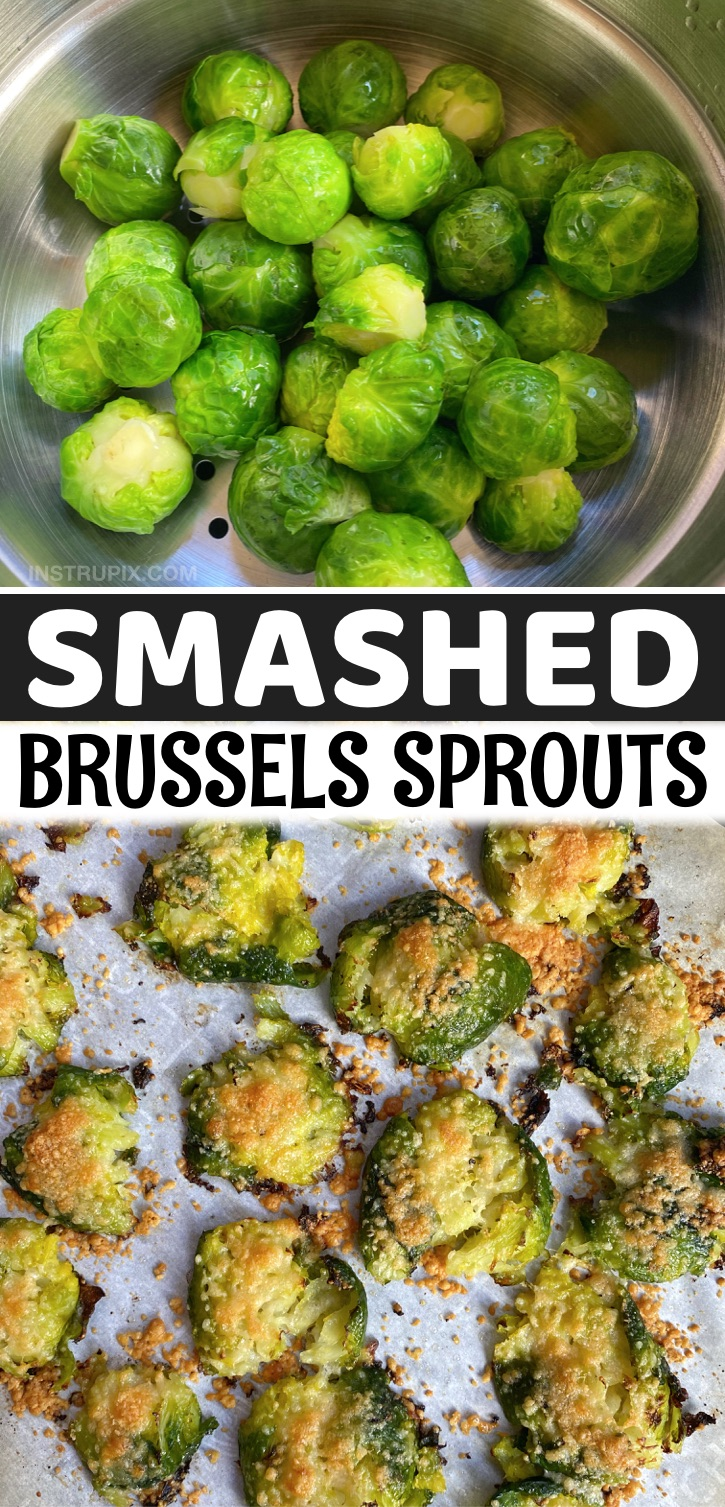 Looking for easy and healthy vegetable side dish recipes? Check out these Smashed Crispy Brussels Sprouts (made with garlic and parmesan cheese!). The BEST quick and easy roasted veggie side dish for dinner. Goes well with chicken, steak, fish, bbq and more! This simple recipe is vegetarian, healthy, keto and low carb! A family favorite side dish. Even my picky kids love them.