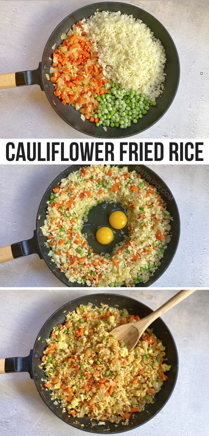 Low Carb Cauliflower Fried Rice (A quick and easy keto dinner recipe!) If you're looking for simple keto dinner ideas, this one pan meal is absolutely delicious. It's also healthy and vegetarian! A great clean eating recipe for busy weeknight meals. Great for weight loss!
