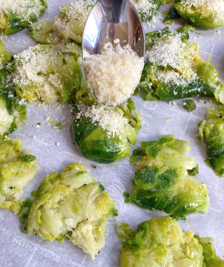 Parmesan Roasted Smashed Brussels Sprouts